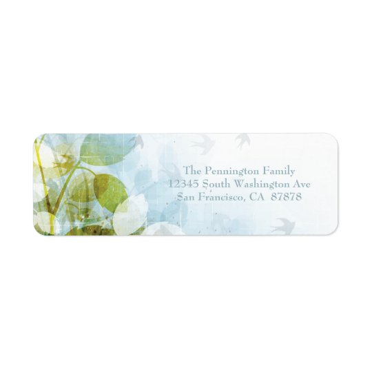 Blue olive green foliage birds address label