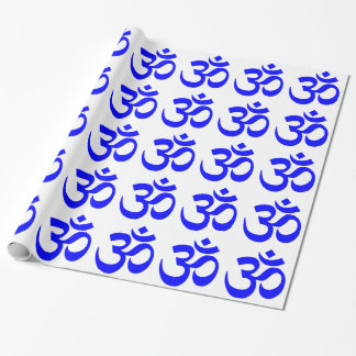 Blue Om Symbol Pattern Wrapping Paper