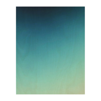 "Blue Ombre 11""x14"" Wood Photo Print"