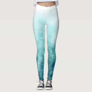 Blue ombre abstract watercolor leggings