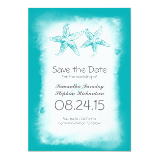 blue ombre beach save the date cards