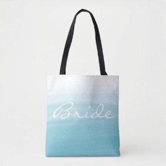 Blue ombre bride tote bag