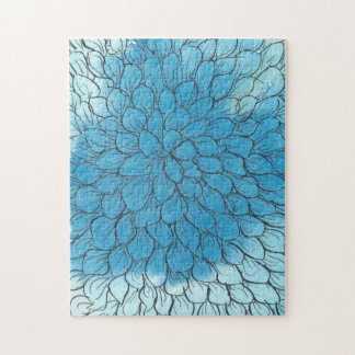 Blue Ombre Chrysanthemum 11x14 Photo Puzzle Box