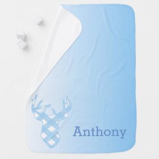 Blue Ombre Deer Head Custom Baby Blanket