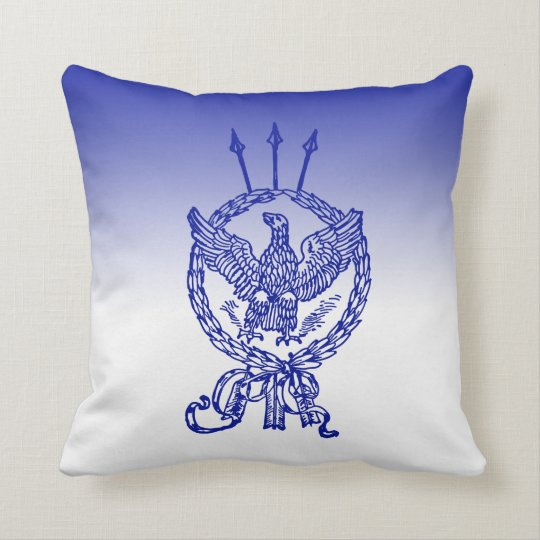 Blue Ombre Eagle Wreath Arrow Antique Patriotic Throw Pillow