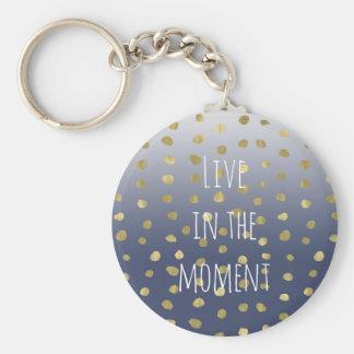 Blue Ombre Gold Dots Personalized Keychain