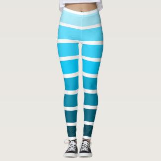 Blue Ombre Gradient Colorful White Stripe Leggings