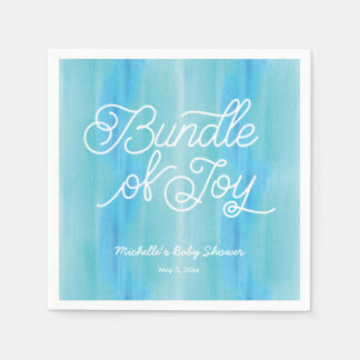 Blue Ombre Watercolor Baby Shower Napkins Paper Napkins