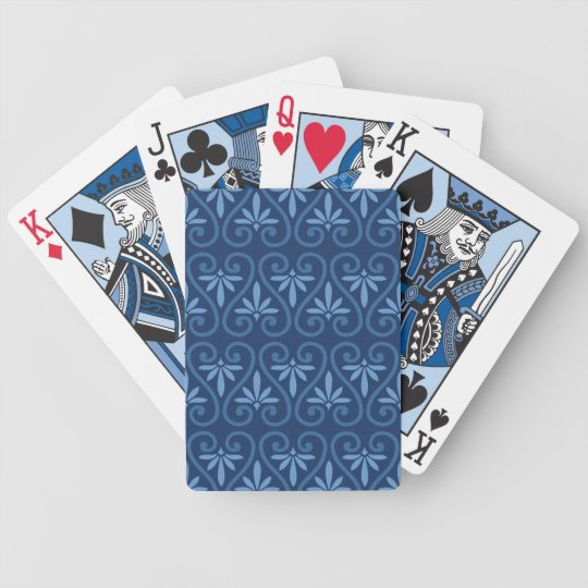 Blue on Blue Damask Pattern Poker Deck