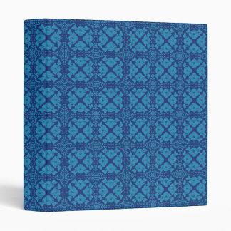 Blue on Blue Floral Geometric Patttern 3 Ring Binder