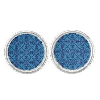 Blue on Blue Floral Geometric Patttern Cufflinks