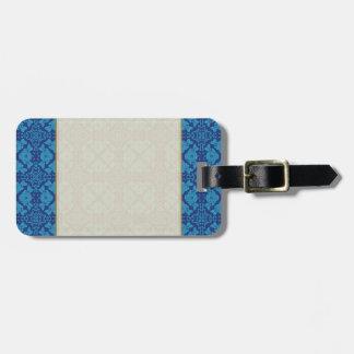 Blue on Blue Floral Geometric Patttern Luggage Tag