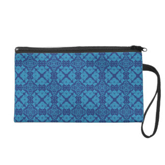 Blue on Blue Floral Geometric Patttern Wristlet