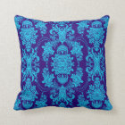 Blue On Blue Vintage Baroque Floral Pattern Throw Pillow