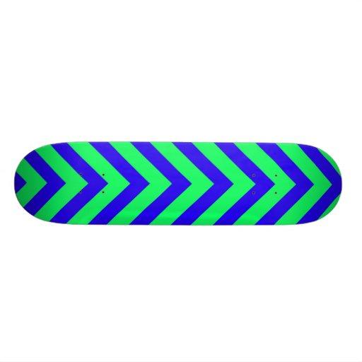 Blue on Green V Pattern Skateboard