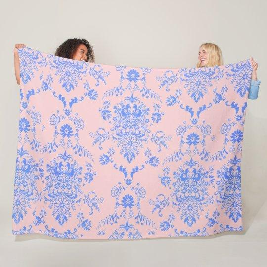 Blue on Pink Damask Fleece Blanket