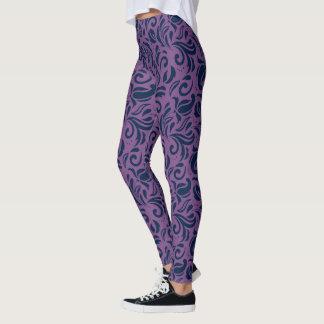 Blue On Purple Floral Damasks Pattern Leggings