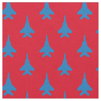 Blue on Red Strike Eagle Fighter Jet Pattern Fabric