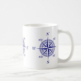 Blue On White Coastal Decor Compass Rose Pattern Coffee Mug