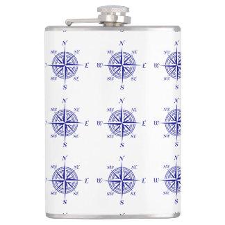 Blue On White Coastal Decor Compass Rose Pattern Flasks