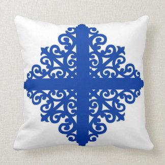 Blue on White Scrollwork Pattern Throw Pillow