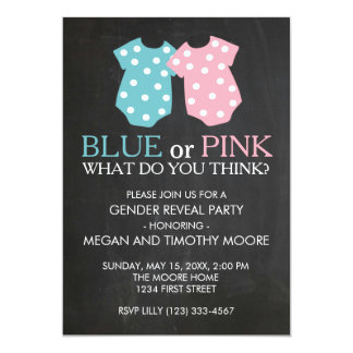 Blue or Pink Gender Reveal Party Invite Chalkboard