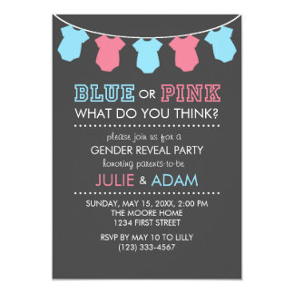 Blue or Pink Gender Reveal Party Invite Grey