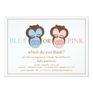 "Blue or PInk Little Owls Baby Gender Reveal Party 5"" X 7"" Invitation Card"