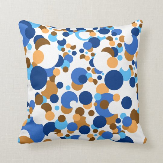 Blue, orange and brown confetti throw pillow