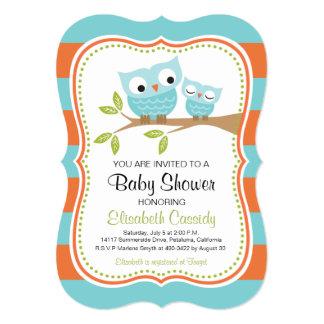 Blue & Orange, Bracket Owls Baby Shower Invite. Card