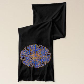 Blue,Orange Circul,ar Design, Black Jersey Scarf