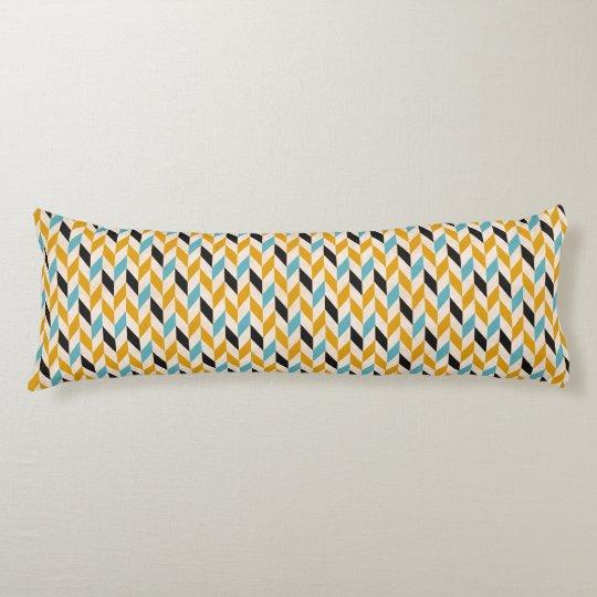 Blue & Orange Geometric Chevron Pattern Body Pillow