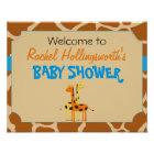 Blue & Orange Giraffe Baby Shower Welcome Poster