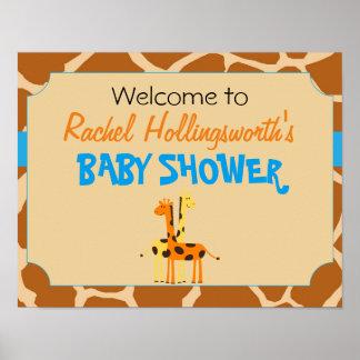 Blue & Orange Giraffe Baby Shower Welcome Poster