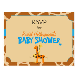 Blue & Orange Giraffe Safari Animal RSVP Postcard