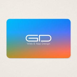 Blue orange gradient modern style business card