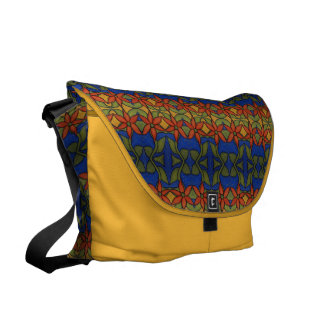 Blue Orange  Green Yellow Floral Pattern Commuter Bag