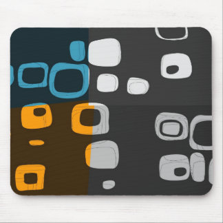 Blue, Orange, Grey Retro Abstract Art Mouse Pad
