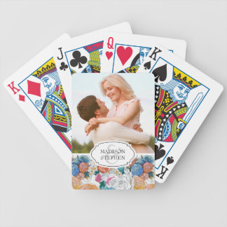 Blue & Orange Hand Painted Flowers - Wedding Photo Bicycle Playing Cards