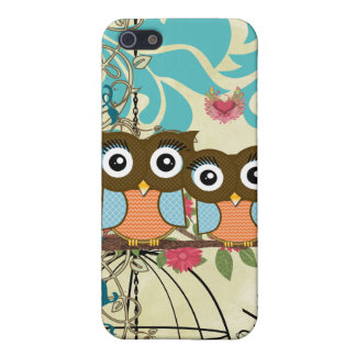 Blue & Orange Owls Bird Cage Aqua Damask iPhone iPhone 5 Case