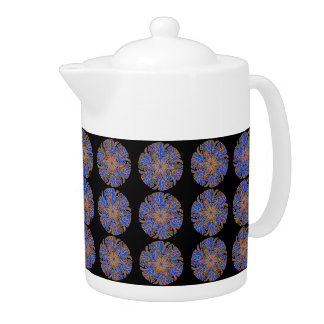 Blue, Orange Patterned Black Teapot