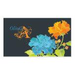 Blue & Orange Peonies with Damask Pattern Monogram