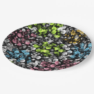 Blue Orange Pink Lime Green Polka Dots Pattern Paper Plate