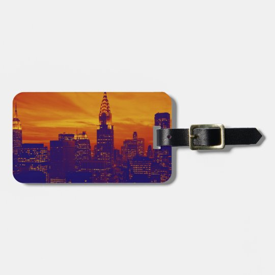 Blue Orange Pop Art New York City Luggage Tag