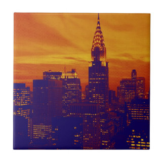 Blue Orange Pop Art New York City Tile