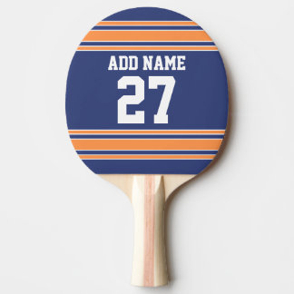 Blue Orange Sports Jersey with Your Name & Number Ping Pong Paddle