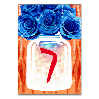 Blue & Orange Table Numbers   Fire and Ice Wedding