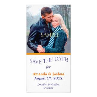 Blue Orange Template Save the Date Wedding Customized Photo Card