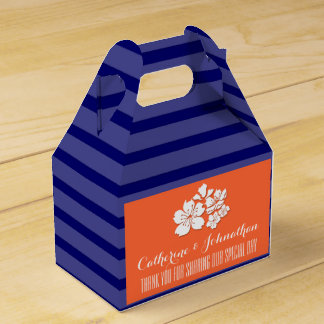 Blue orange wedding cherry blossom favors favor boxes