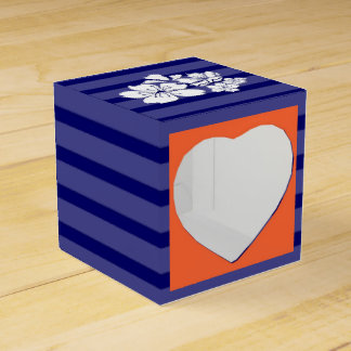Blue orange wedding cherry blossom party favor box